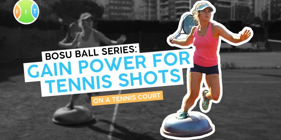 A female tennis player with a tennis racket on a Bosu Ball